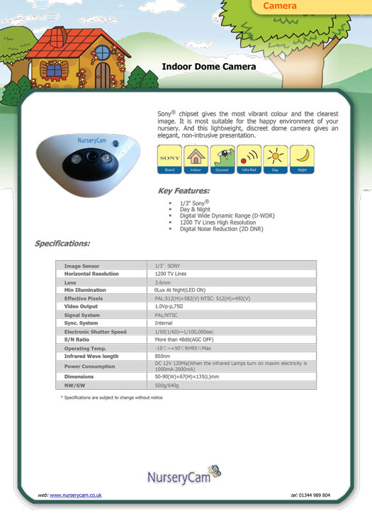Indoor Dome Camera - Data Sheet